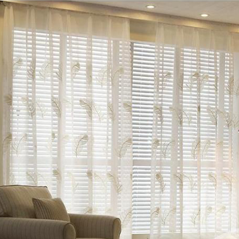 Classic Style Embroidery Window Curtain Tulle Feather Pattern Sheer Panel For Living Room Voile