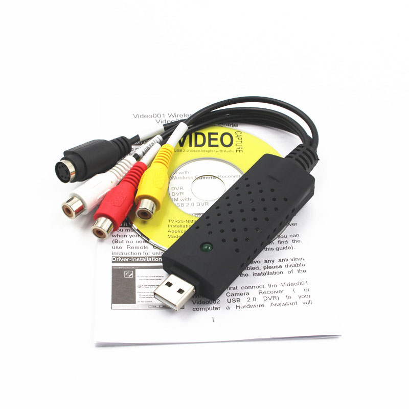 High Quality USB 2.0 Video DVD VHS Record Monitor Capture Card Audio Converter AV Adapter For Computer PC Transmission Cables