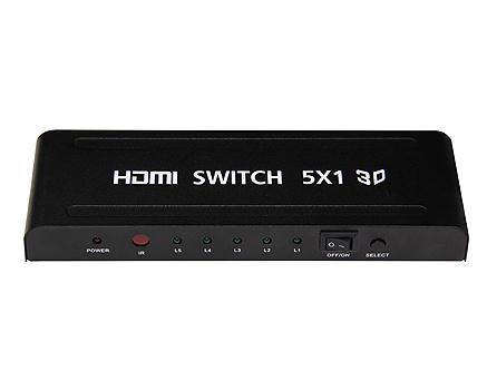 HDMI Switch 5x1 Yatek YK-0501, Supports 3D, Select, Amplifique And The Signal HDMI