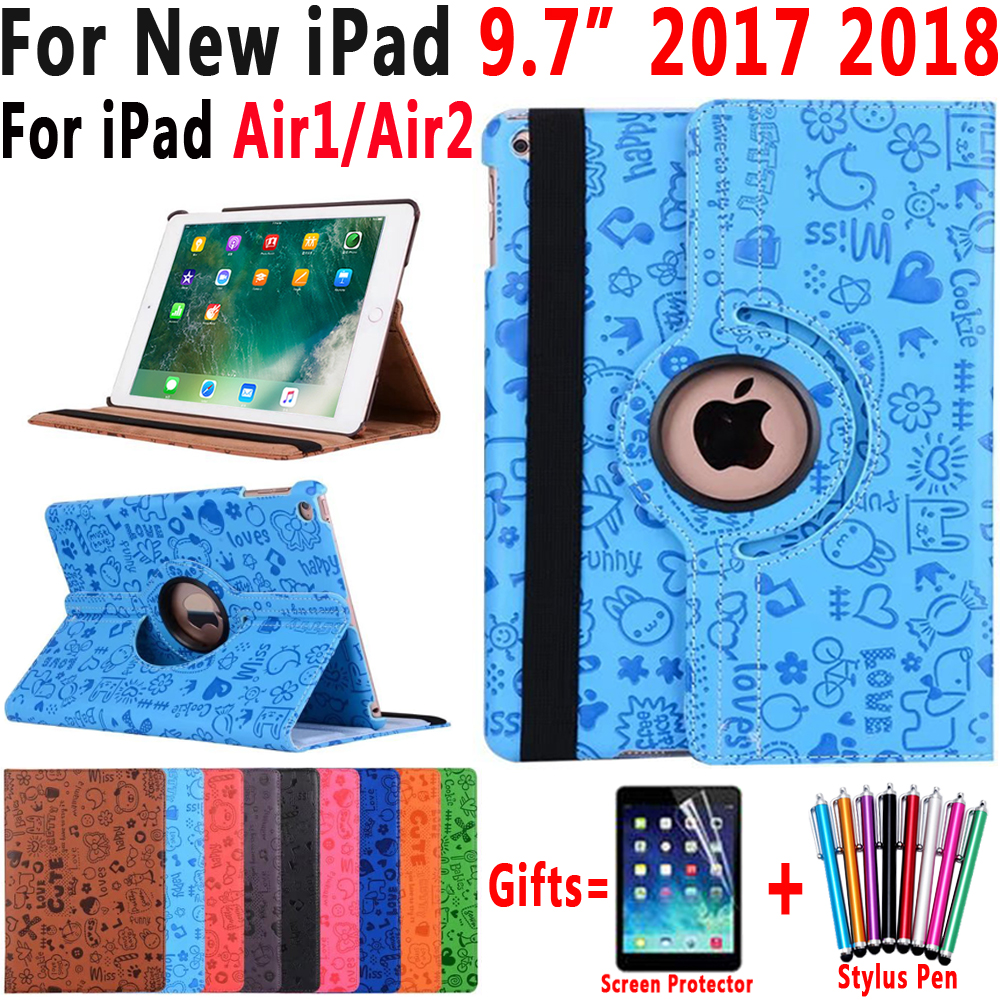 360 Rotating Cartoon Leather Smart Cover Case for Apple iPad 9.7 2017 2018 Air 1 2 5 5th 6th Generation A1823 A1954 Cases Funda for ipad 5th 6th generation case tablet cover for apple ipad air air2 case pu leather stand cases for ipad 5 ipad 6 cover funda