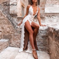 Tobinoone hollow out long summer dress women Backless tie up bow maxi dress Elegant 2018 spring lace dress female vestidos