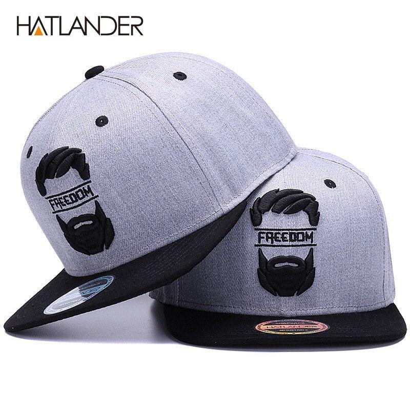 HATLANDER D'origine snapback cap hommes plat brim os casquettes de baseball broderie moustache mens chapeau jeunesse articles de la rue cool hip hop cap