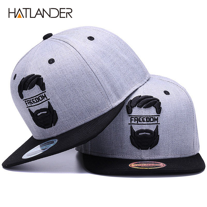 HATLANDER Original snapback cap men flat brim bone baseball caps embroidery mustache mens hat youth street ware cool hip hop cap