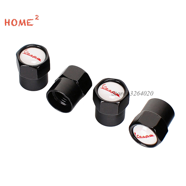 4 Pcs Car Decor Accessories For Vespa Logo Wheel Valve Stems Caps