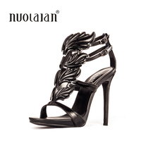 Black Pink Metallic Winged Gladiator Women Sandals 2016 High Heels Brand Sandals Summer Shoes Woman Sandalias