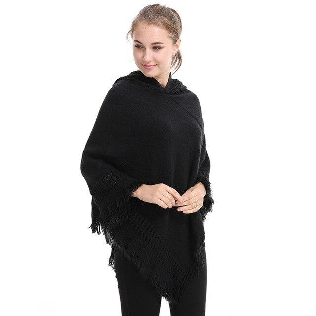 2017 Hoodies Écharpe Bandana Femmes Automne Hiver Lâche Occasionnel Tricoté  À Capuchon Hijab Solide Creux 68eb5abe24b