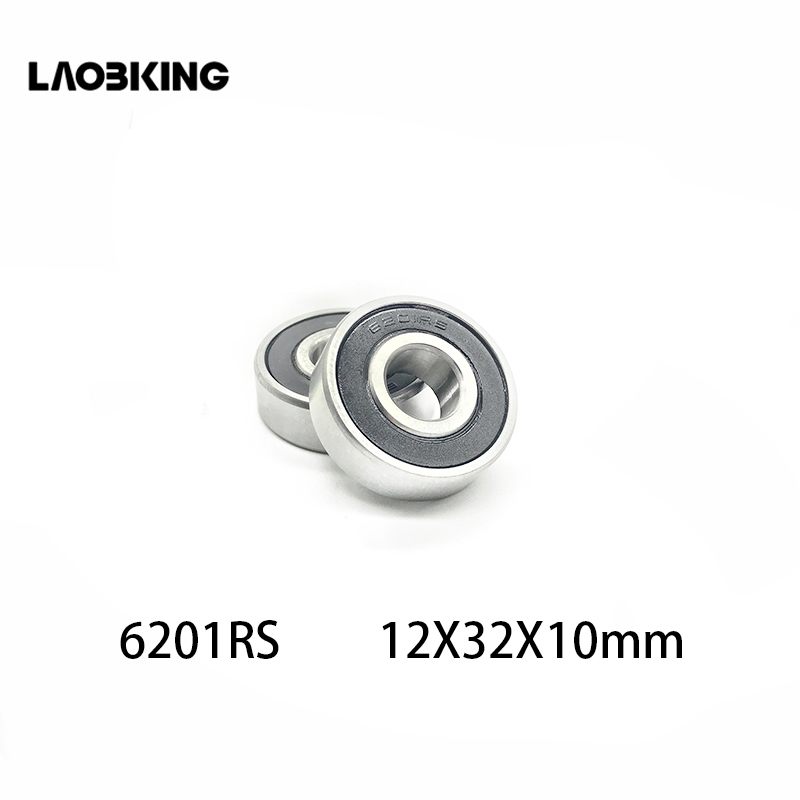 10Pcs 6201-2RS <font><b>6201RS</b></font> 12*32*10mm Deep Groove Mini Ball Bearings Double Rubber <font><b>6201rs</b></font> 6201 rs 12 x 32 x 10mm For Bicycle Hubs image