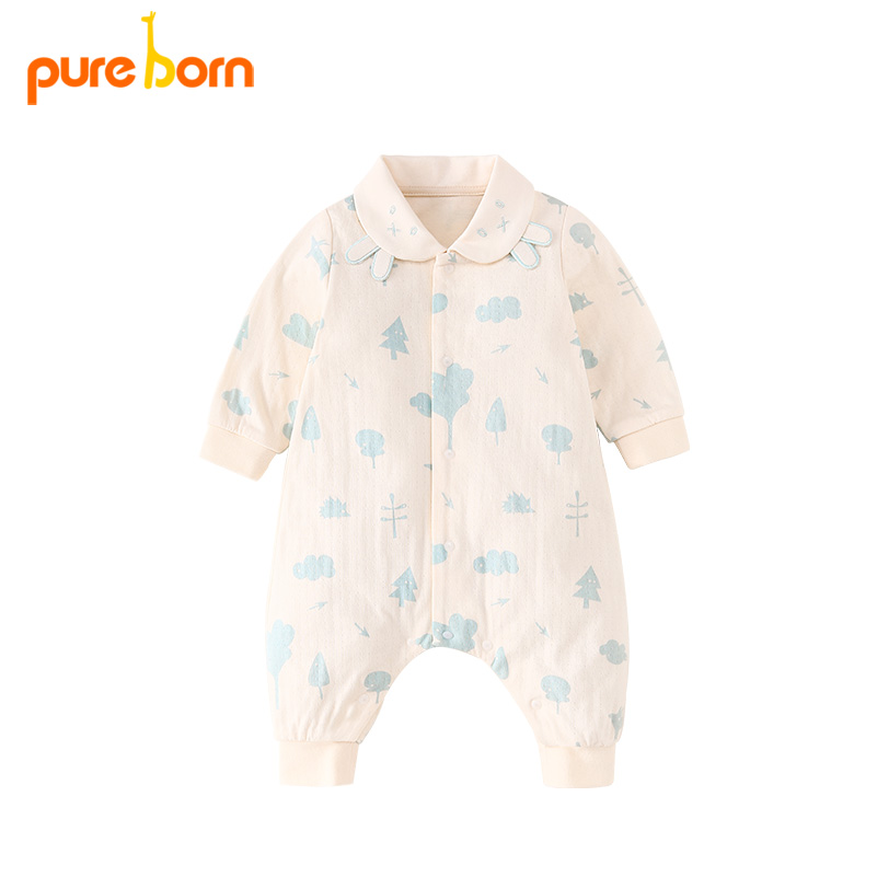 Mother & Kids Pureborn Baby Girl Romper Lovely Cartoon Cat Baby Clothes Thick Warm Cotton Jumpsuit Newborn Overall Baby Boys Gift Brand New