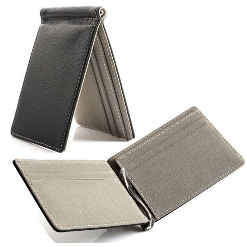 2018 Quality creative money clip short wallets men pu leather clamp dollar holder famous brand male magic clip luxury business