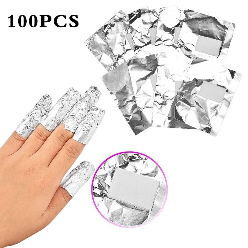 ELECOOL 100 шт. алюминиевый Фольга лак искусство впитывающийся для Ногтей Акрил Гель-лак для ногтей для удаления обертывание для снятия лака удо...