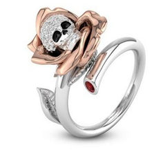 925 sterling silver skull ring Europe and the United States golden petal skull wedding ring hot zircon ring(China)