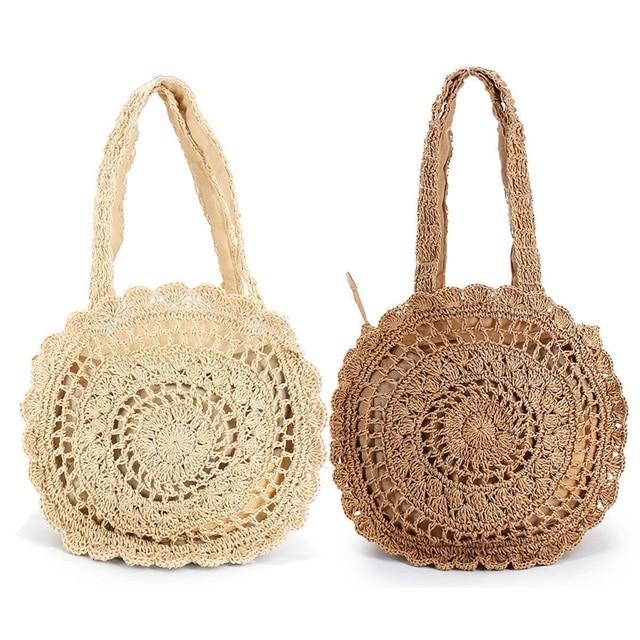 Fashion Women Summer Round Knitted Straw Bag Beach Shoulder Weave Handbag  Tote Purse 46dddc5589349