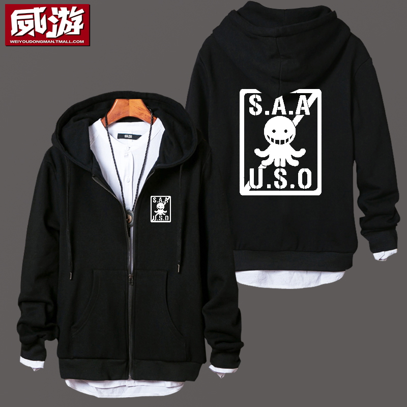 Anime Assassination Classroom Hoodie COSPLAY Male And Female Student Campus Style Zipper Hooded Sweatshirts Free Shipping