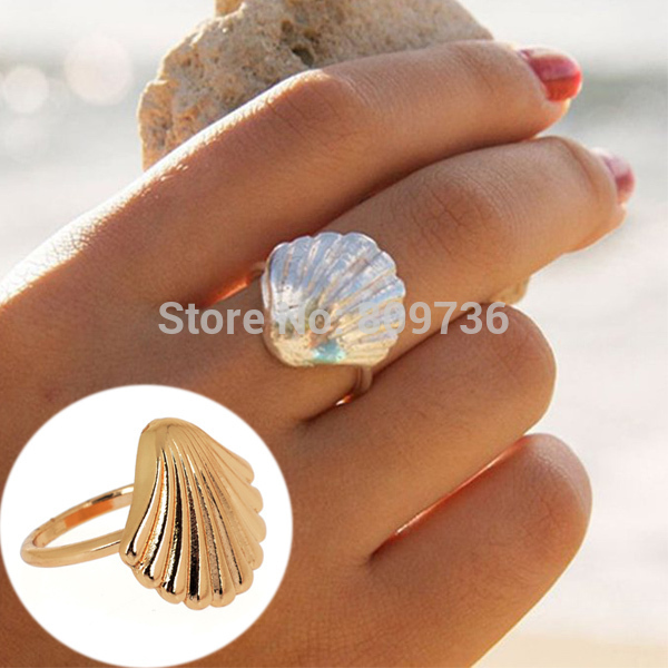 1PC New Europe Fashion Design Simple Cute Silver Gold Beach Sea Shell Conch Shape Ring Size7 Women Jewelry Gfit Drop Free