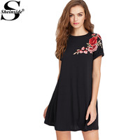 Sheinside Embroidered Flower Patch Roll Cuff Swing Tee Dress A Line Short Dress 2017 Summer Casual