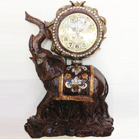 TUDA Free Shipping 10inch Vintage Design Elephant Carved Resin Table Clock Brown Large Table Clock High