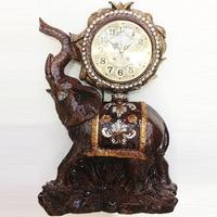 TUDA Free Shipping 10inch Vintage Design Elephant Carved Resin Table Clock Brown Large Table Clock High Grade Villa Decor Clock