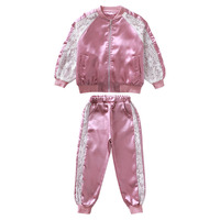 Girls Clothing Sets Spring Autumn Girls Sport Suit Lace Jacket+Pants 2 PCS Outfit Kids Girls Tracksuit Set 4 6 8 10 12 13 Years