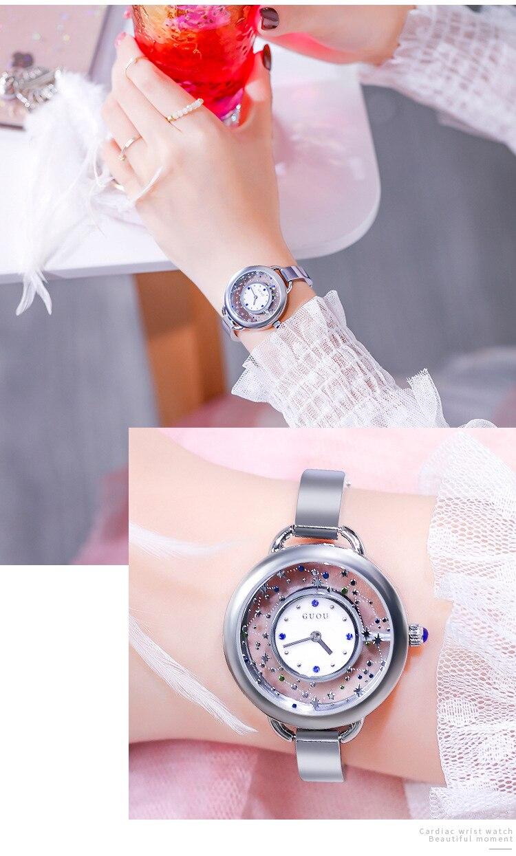 Cristal Elegante Mulheres Vestido Relógios Feminino Relógio