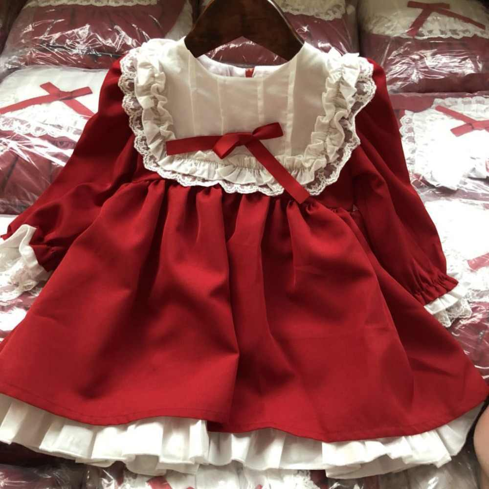 Autumn Baby Girls Red Dress Christmas Vestidos Vintage Long Sleeve Princess Dresses Party Birthday Elegant Kids Girls Dresses