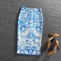 Vintage Retro Fantasía Azul Tótem de Impresión de Alta Cintura Falda Lápiz Gonne Wrap Hip Bodycon Midi Faldas Apretadas Las Mujeres Desgaste de la Oficina saia