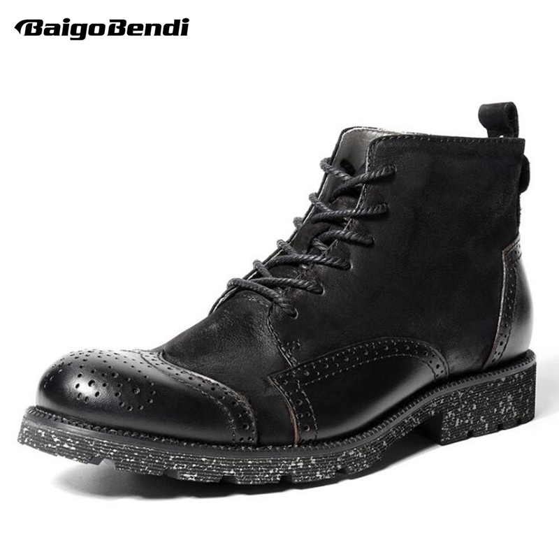Recommend !! Hight Quality Mens Brogue Shoes Round Toe Genuine Leather Martin Boots Winter Business Man Casual Oxfords brogue boots two tone