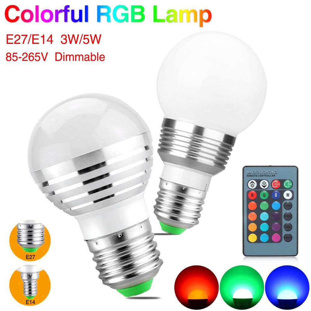 Фото E14 E27 Led Dimmable RGB Led Bulbs 3W 5W 85-265V 110V 220V Colorful RGB Led Lamp Chandeliers Led Light +24 Key Remote Controller