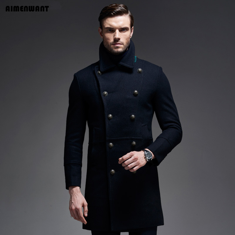 AIMENWANT brand Fall/Winter Wool Coat Europe Brand Quality Cashmere Woolen Jacket Male Military Coats Free Shipping Men Tops-in Wool & Blends from Men's Clothing    1