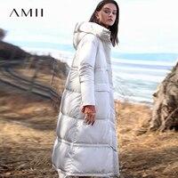 Amii Minimalist Hooded Long Down Jacket Winter Women 2018 Casual Thick Pocket Solid Waterproof 90% White Duck Down Jacket