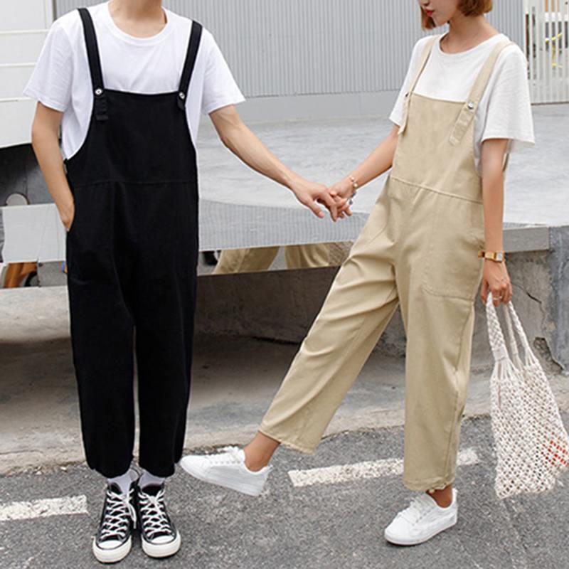 INCERUN Bib Pants Couple Men And Women Tooling New Korean Version Loose Nine Points Casual Pants Autumn 2020 Men Jumpsuits 5XL