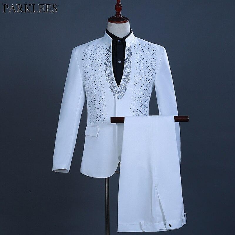 2 قطعة الأبيض زر واحد الذهب التطريز الماس دعوى الرجال العلامة التجارية الوقوف طوق ضئيلة تناسب الزفاف العريس رجل الدعاوى مع السراويل Terno-في السترات من ملابس الرجال على  مجموعة 1
