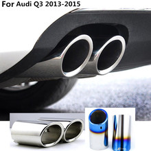 car Styling cover muffler exterior end pipe dedicate stainless steel exhaust tip tail 2pcs For Audi Q3 2013 2014 2015