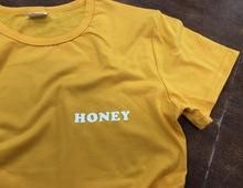 Honey Yellow Clothing T-Shirt Casual Honey Slogan Letter Harajuku Tee Cotton Aesthetic Girl Summer Outifts O-Neck t shirt