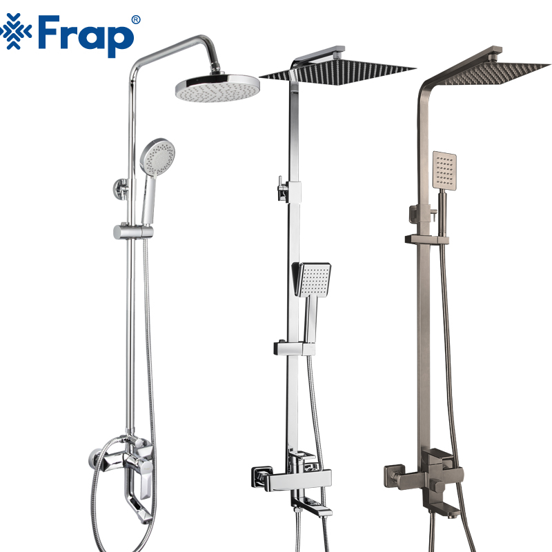 FRAP bathroom shower faucet set bathtub faucets shower mixer tap Bath Shower taps rainfall shower head