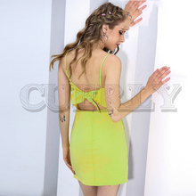 CUERLY Sexy strap backless beach summer dress Bow casual women sundress Slim fit bodycon white short vestidos