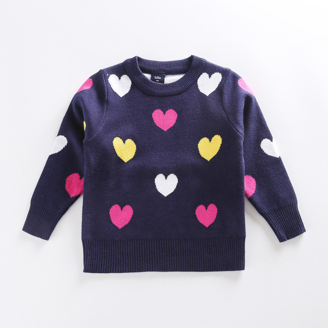2016 children sweater heart pattern cardigan sweaters for girls ...