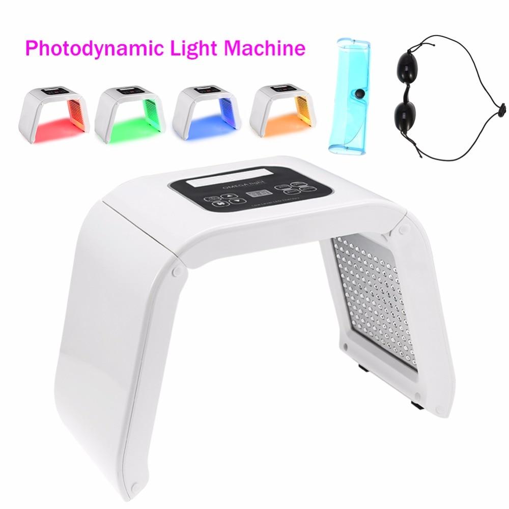 4 Colors Face Beauty Photodynamic Lamp PDT LED Light Therapy Machine Acne Wrinkle Remove Skin Rejuvenation