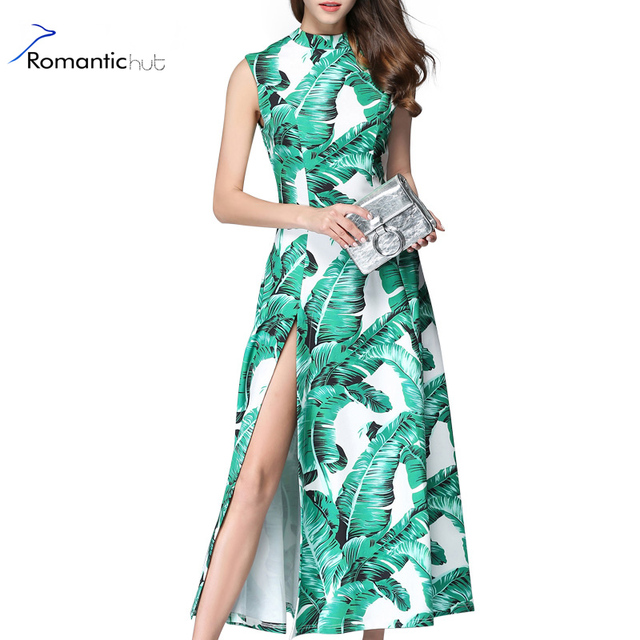 c409f8f676515 2017 New Print Long Dress Women Banana Leaf Print Dresses Lady Elegant Sexy  Side Split Summer Dresses Famale Beach Boho Vestidos