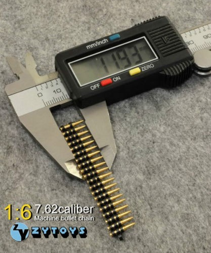 50pcs/set 7.62 Caliber Metal Machine Bullet Chain 1/6 Scale Figure Toys Accessory for 12 5
