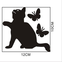 1PCS 12*10CM Cute cat flap butterfly black wall sticker switch wallpaper Decals Art Mural Baby Nursery Room(China)