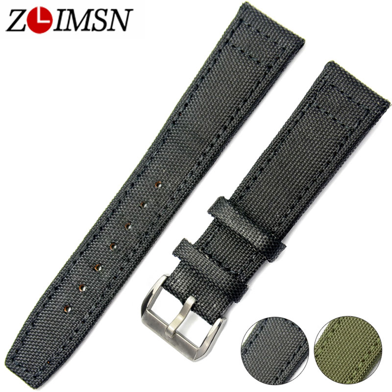 ZLIMSN Nylon Watchbands Leather Watch Straps 20 22mm Green Black Bracelet Belt Men Women Silver Buckle relogio masculino survival nylon bracelet brown