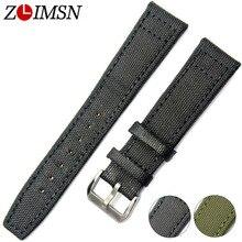 ZLIMSN нейлон ремешки кожаные ремешки 20 22 мм зеленый черный браслет ремень Для мужчин Для женщин серебряной пряжкой relogio masculino