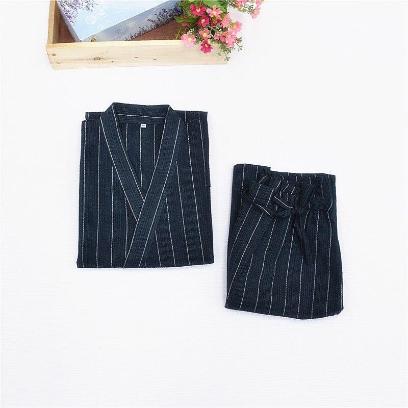 Kimono Pajamas For Men 100% Cotton Cloth Kimono Stripe Robe Short-sleeve Half Pants Pyjamas Men Lounge Pajama Set Men's Pajama Sets