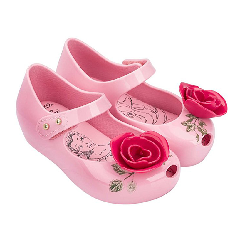 mini melissa sandals Beauty Beast footwear Shoes boys girls flowers Jelly Sandals high quality Princess shoes non-slip Sandals
