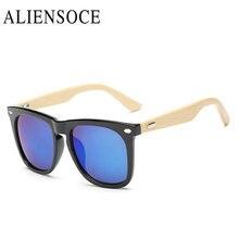 ALIENSOCE Alta Calidad Mujeres Square Remache Retro Gafas De Sol De Madera de Bambú Unisex gafas de sol UV400