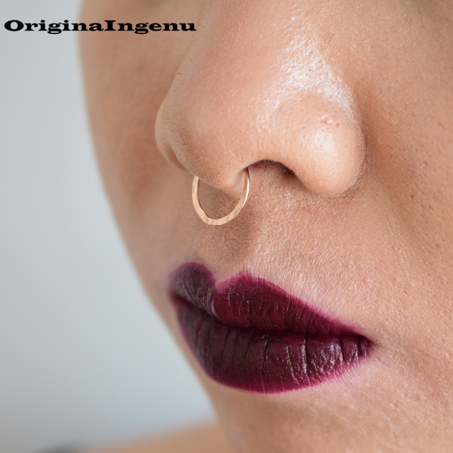 Us 7 64 15 Off Piercing Jewelry Nose Ring Handmade Hammered Horseshoe Surface Punk Charm Circular Tiny Septum Hoop Jewelry Grillz Fake Piercing In