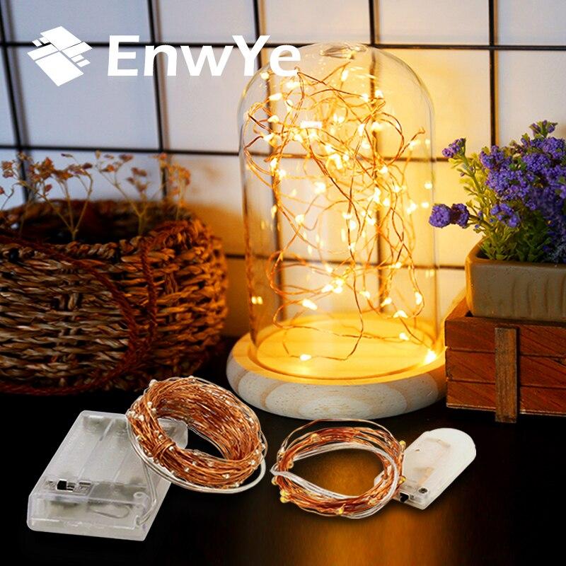 EnwYe 3XAA Batteria 2M10 M 100 LED Luci Della Stringa per Natale Ghirlanda Partito Decorazione di Cerimonia Nuziale Di Natale lampada