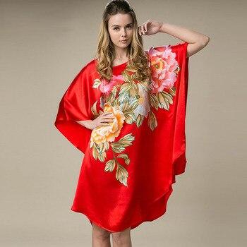 100% Silk Satin Dress Women Silk Dresses Natural Silk Free Size Handmade Painted Dress Lucky Red Flower Color Free Shipping