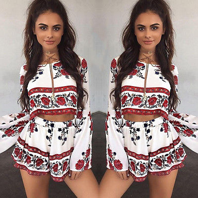 New Women Summer Beach Jumpsuit Clubwear Bodycon Playsuit Romper Hot Short Pants 2pcs Playsuits Lady Womens Print Rompers