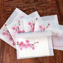 5 шт. винтажные бумажные конверты с цветком персика, открытки, поздравительная открытка, Обложка Kawaii канцелярские принадлежности, Прозрачные бумажные свадебные конверты